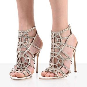 Sergio Rossi Cage Puzzle Nude Sandal MSRP $1695